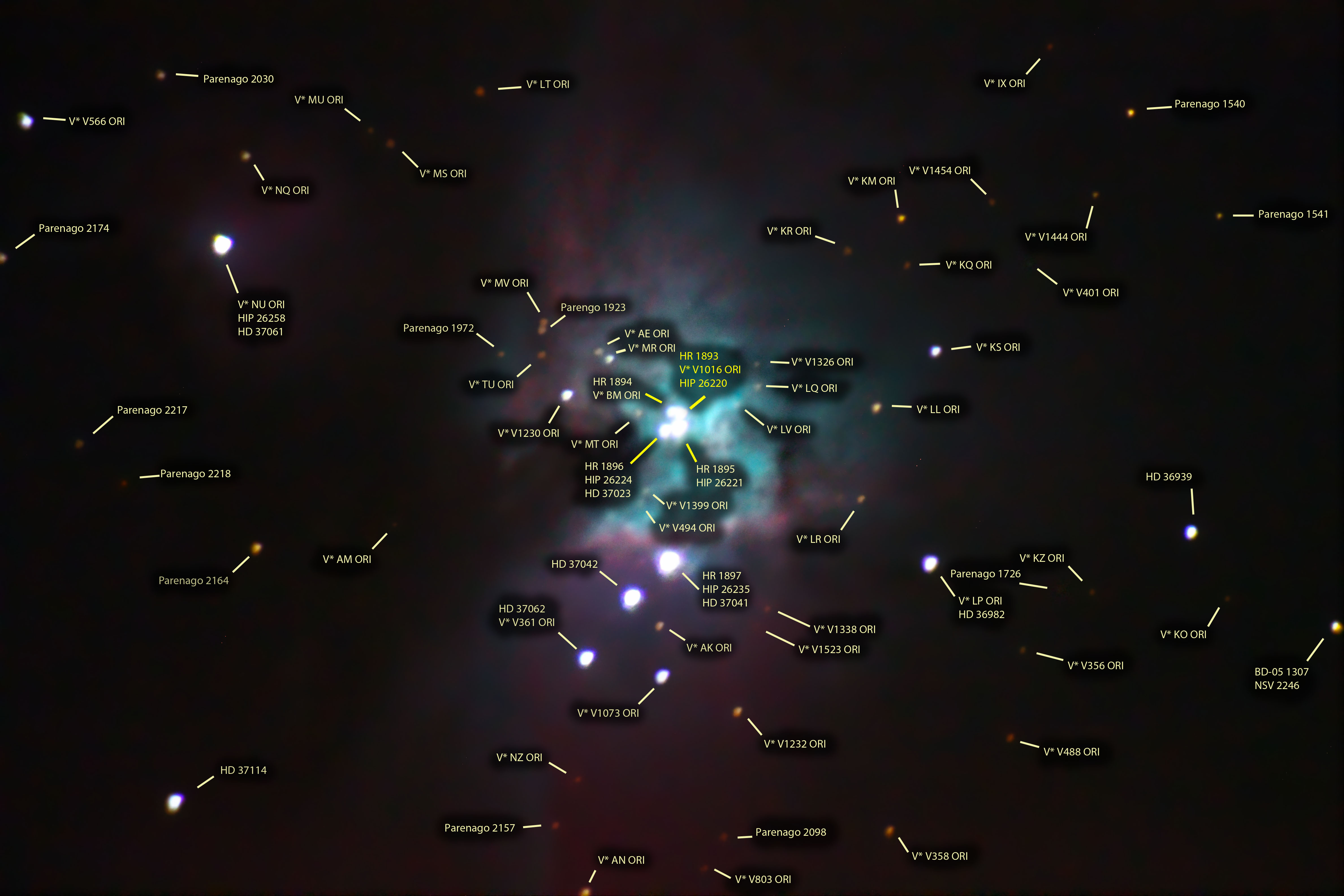 Extended annotated image of The Great Nebula in Orion